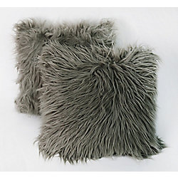 Couture Felix faux fur decorative cushions 18x18, grey (2-Pack)